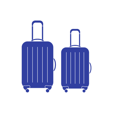 Vector illustration of suitcases for travel. Summer time, vacation. Design for banner, poster or print.