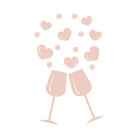 Cute vector illustration of two stemware with hearts. Design for banner, poster or print. Greeting card Valentines Day. Illustration
