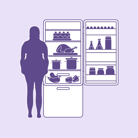 Fat woman stands at the fridge full of food. Harmful eating habits. Design for banner and print. Illusztráció