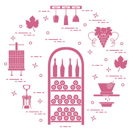 Winemaking: the production and storage of wine. Culture of drinking wine. Design for announcement, advertisement, print. Vettoriali