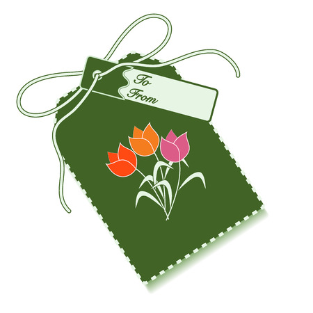 Gift tag with bouquet of flowers and ribbon. Sale and shopping concept. Design for postcard, banner, poster or print. Illustration