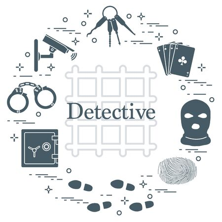 Criminal and detective elements. Crime, law and justice vector icons. Design for announcement, print. Ilustrace