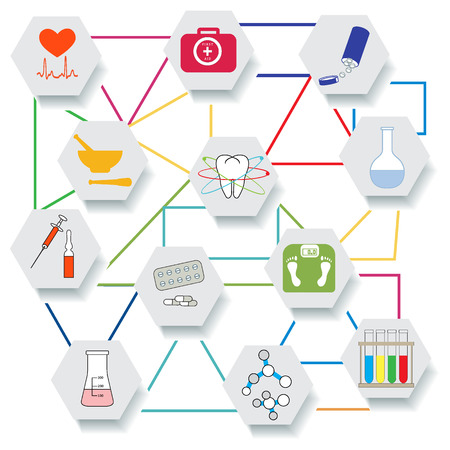 Medical devices, tools and drugs. Health and treatment. Çizim
