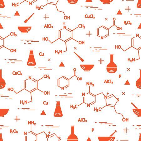 Pattern with variety of scientific elements. Illustration