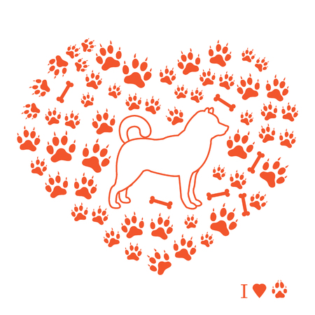 Shiba inu silhouette on a paw and bone heart shape illustration.