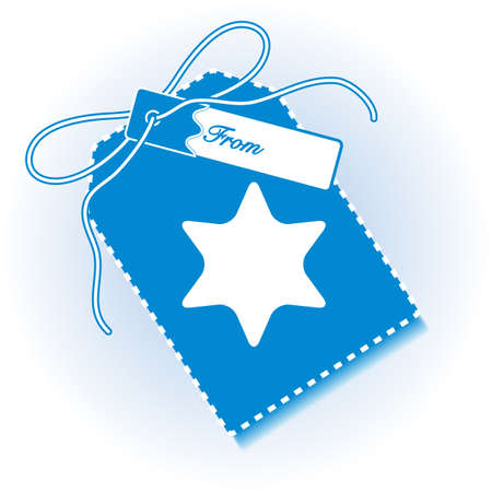 New year and christmas gift tag with star and ribbon. Design for postcard, banner, poster or print.
