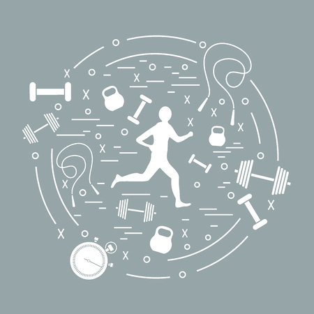 A Vector illustration of the jogging man and different kinds of sports equipment arranged in a circle. Including icons of skipping rope, stopwatch, dumbbells and other.