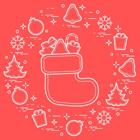 Calza di Natale con regalo. Simboli di Natale e Capodanno. Biglietto di auguri vacanze invernali. Design per banner, poster o stampa.