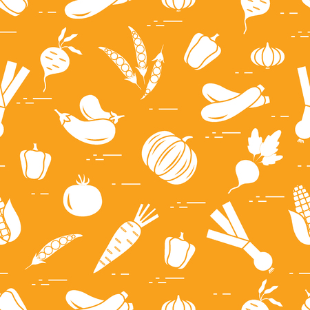Pattern: autumn seasonal vegetables. Tomato, pepper, zucchini and other fall vegetables for announcement, advertisement, banner or print.