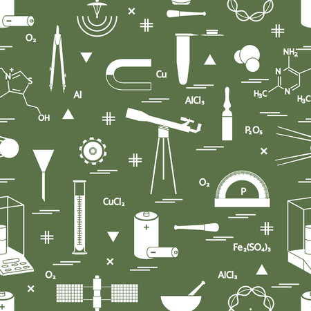Pattern with variety scientific, learning elements such as dividers, formula, test-tube, satellites, batteries and other.