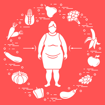 Fat woman with healthy food around her. Healthy eating habits. Design for banner and print. Vectores