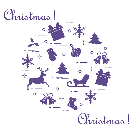New Year and Christmas symbols arranged in a circle. Winter elements. Design for postcard, banner and print. Vectores