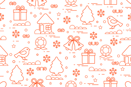 Winter pattern with variety Christmas elements such as christmas tree, gift, christmas wreath, bells and other. Illustration