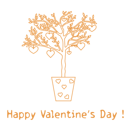Creative tree with leaves and with hanging hearts.Greeting card Valentine's Day. Design for banner, poster or print.