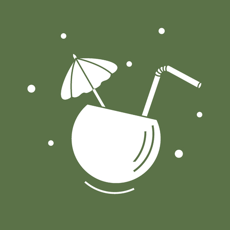 Stylized icon of the cocktail in half coconut, tube and umbrella. Travel and leisure. Design for banner, poster or print.