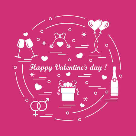Cute illustration of gifts, balloons, stemware, keys, gender symbols, bottle with hearts and snowflakes arranged in a circle which can be a design for banner, poster or print.