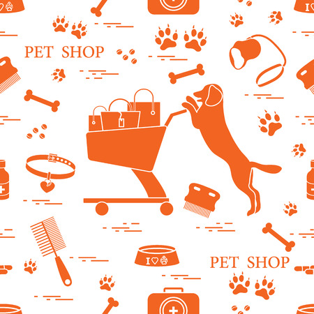 Pattern of dog, bowl, shopping cart with gift bags, traces, bone, brush, collar, first aid kit and can be a health care, vet, nutrition, exhibition.
