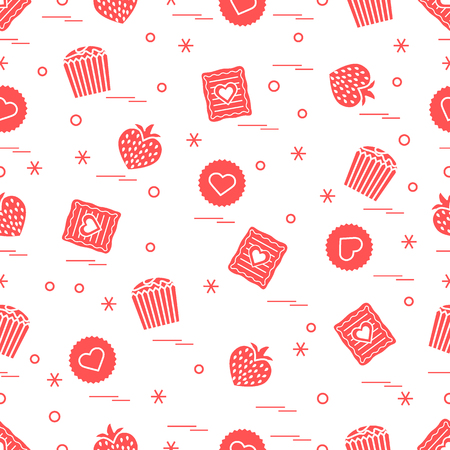 Cute pattern of different romantic sweets with love concept that can be a design for banner, poster or print.