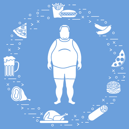 Fat man with unhealthy lifestyle symbols around him. Harmful eating habits. Design for banner and print. Ilustração