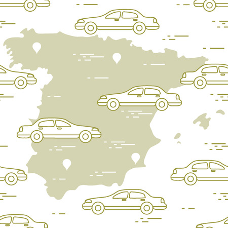 Pattern with cars and map of Spain which is great for travel and leisure that can be a design for announcement, advertisement, banner or print. Illusztráció