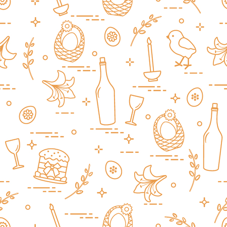 Pattern of Easter symbols: Easter cake, chick, lily, baskets, eggs and other. Design for banner, poster or print.
