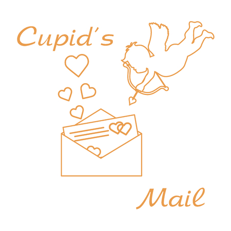 Cupid shoots a bow and envelope with Valentine card and hearts. Love symbol. Design for banner, poster or print.