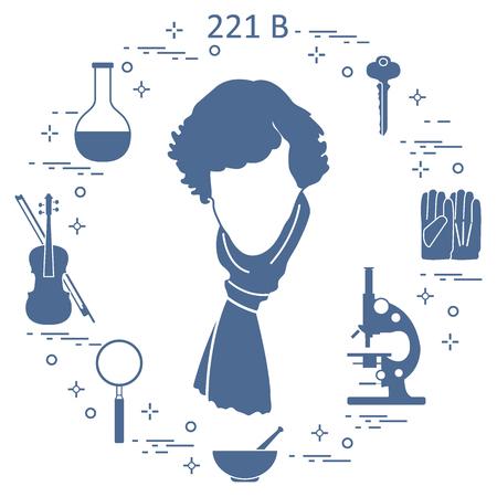 Détective privé Sherlock Holmes avec des outils de variété et de l'équipement. Le héros de la série télévisée populaire. Conception pour l'annonce, impression. Vecteurs