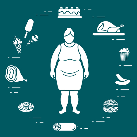 Fat woman with unhealthy lifestyle symbols around her. Harmful eating habits. Design for banner and print.