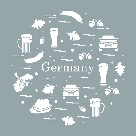 Vector illustration with various symbols of Germany arranged in a circle. Travel and leisure. Design for banner, poster or print.