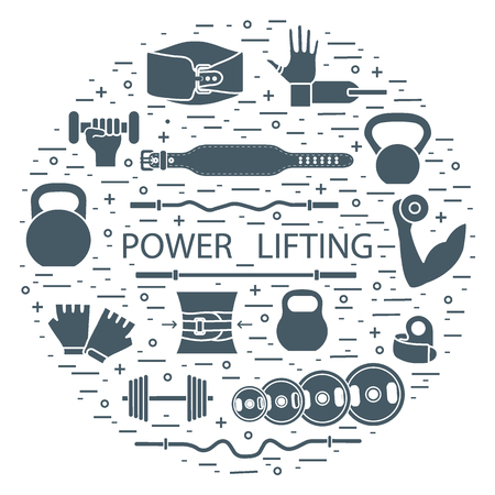 Weightlifting training objects arranged in a circle. Healthy lifestyle and physical activity.