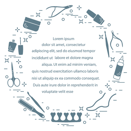 Silhouette of manicure and pedicure tools and products for beauty and care. Design element for postcard, banner, poster or print.