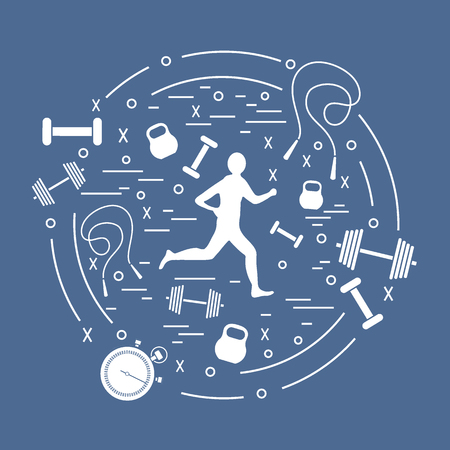 Vector illustration of the jogging man and different kinds of sports equipment arranged in a circle. Including icons of skipping rope, stopwatch, dumbbells and other.  イラスト・ベクター素材