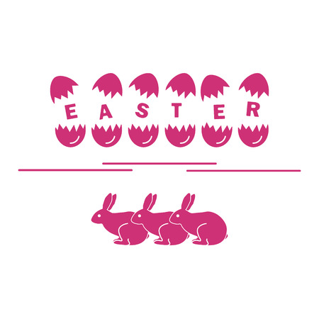 Cute vector illustration with symbols for Easter. Design for banner, poster or print.
