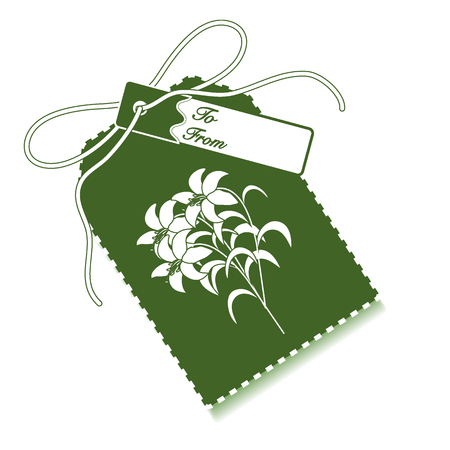 Gift tag with branch of lilies and ribbon. Illustration