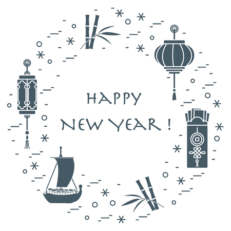 New year symbols: Japanese treasure ship, bamboo, Chinese lanterns and red envelopes of money arranged in a circle. Festive traditions of different countries.