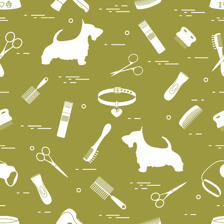 Pattern with dog, combs, collar, leash, razor, hair dryer, bowl, scissors. Health care, grooming, caring for a dog, exhibition. Illustration