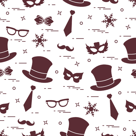 Seamless pattern of different carnival decorations: masks, hats, mustache  and other. Carnival festive concept. Costume for a party. Illustration