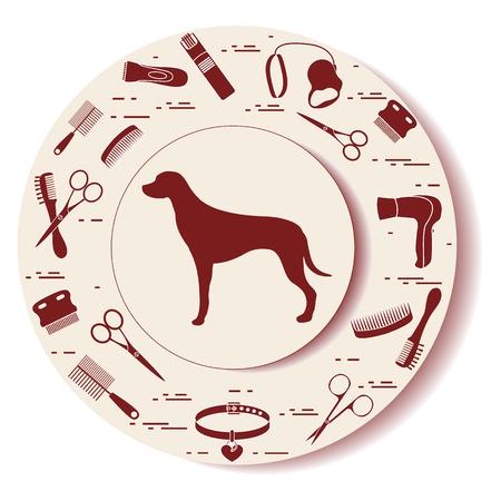 Decoratieve plaat met hondensilhouet, kammen, kraag, riem, scheermes, haardroger, schaar. Ontwerp voor banner, poster of print.