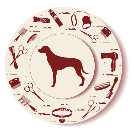 Decorative plate with dog silhouette, combs, collar, leash, razor, hair dryer, scissors. Design for banner, poster or print.