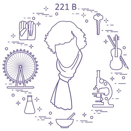 Détective privé Sherlock Holmes avec des outils de variété et de l'équipement. Le héros de la série télévisée populaire. Conception pour l'annonce, impression.