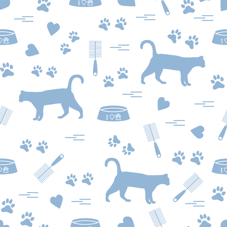 Nice pattern of silhouette walking cat, traces, hearts, bowl and comb need for cat hair. Design for banner, flyer, poster or print.  Vettoriali