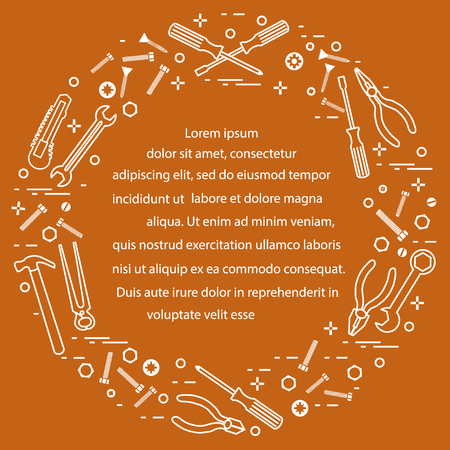 Variety tools for building, construction and home repair. Design for banner and print. Ilustração