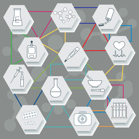 Medical devices, tools and drugs. Health and treatment. Illustration