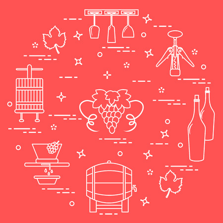 Winemaking: the production and storage of wine. Culture of drinking wine. Design for announcement, advertisement, print. Illustration