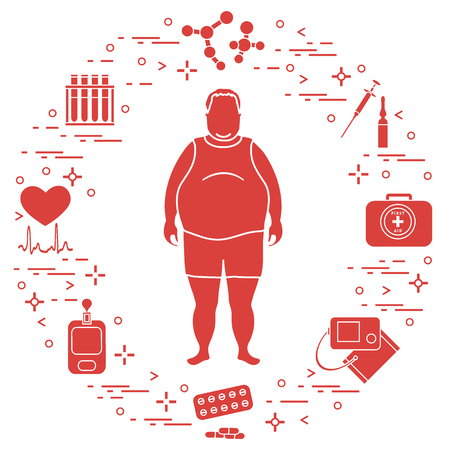 Fat man with medical devices, tools and drugs around him. Health and treatment. Design for banner and print.