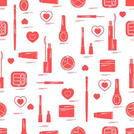 Cute pattern of  various elements of decorative cosmetics and care products for face and body. Design element for print.