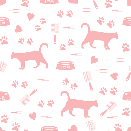 Nice pattern of silhouette walking cat, traces, hearts, bowl and comb need for cat hair. Design for banner, flyer, poster or print.