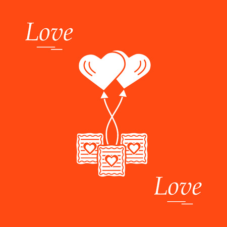 Cute vector illustration of love symbols: heart air balloon icon and three cookies. Romantic collection. Design for banner, flyer, poster or print.