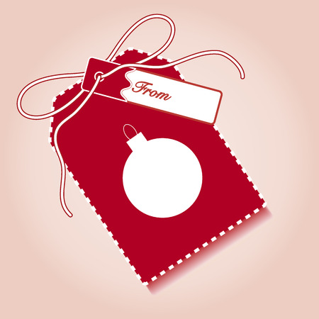 New year and christmas gift tag with christmas ball and ribbon. Design for postcard, banner, poster or print.
