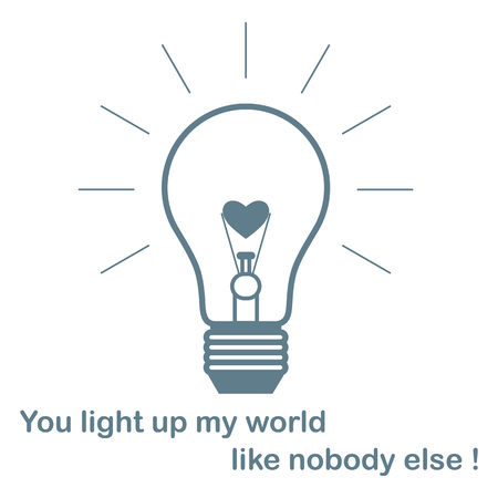 Glowing light bulb with glower in the shape of a heart and the inscription. Design for banner, poster or print. Greeting card Valentines Day.